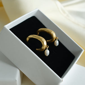Simo Pearl Hoop Earrings