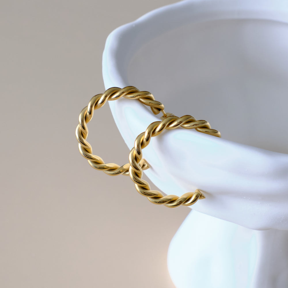 Load image into Gallery viewer, Madison Braided Hoops 18K Gold-plated