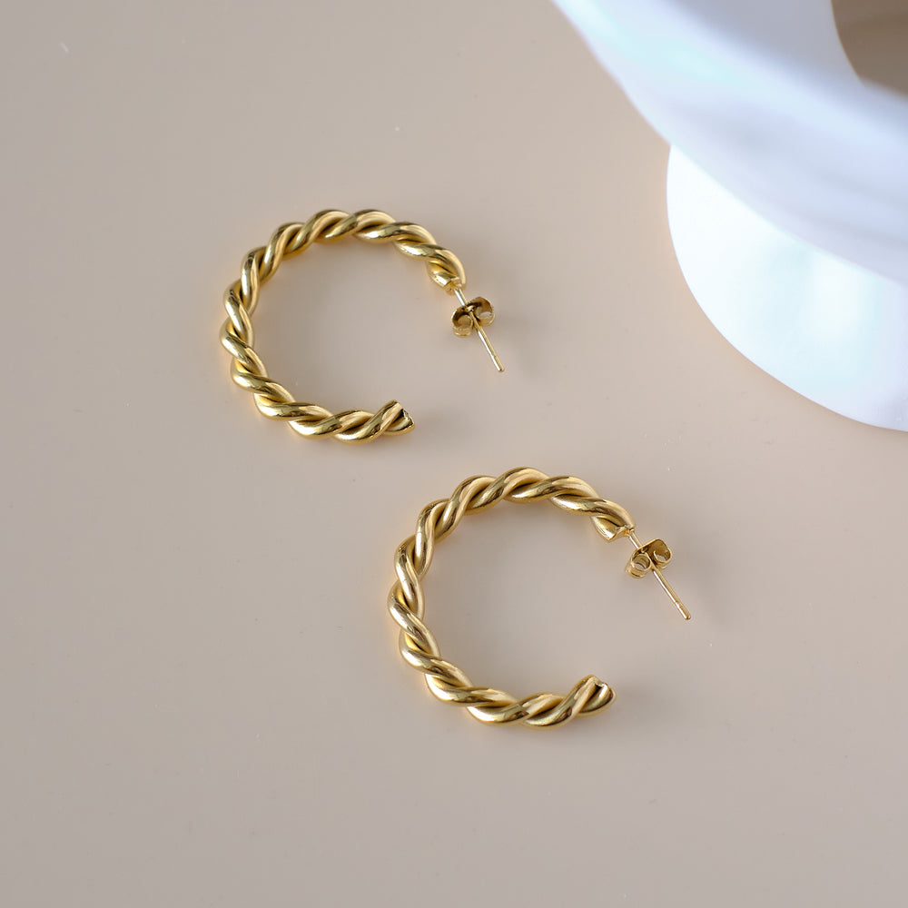 Madison Braided Hoops 18K Gold-plated