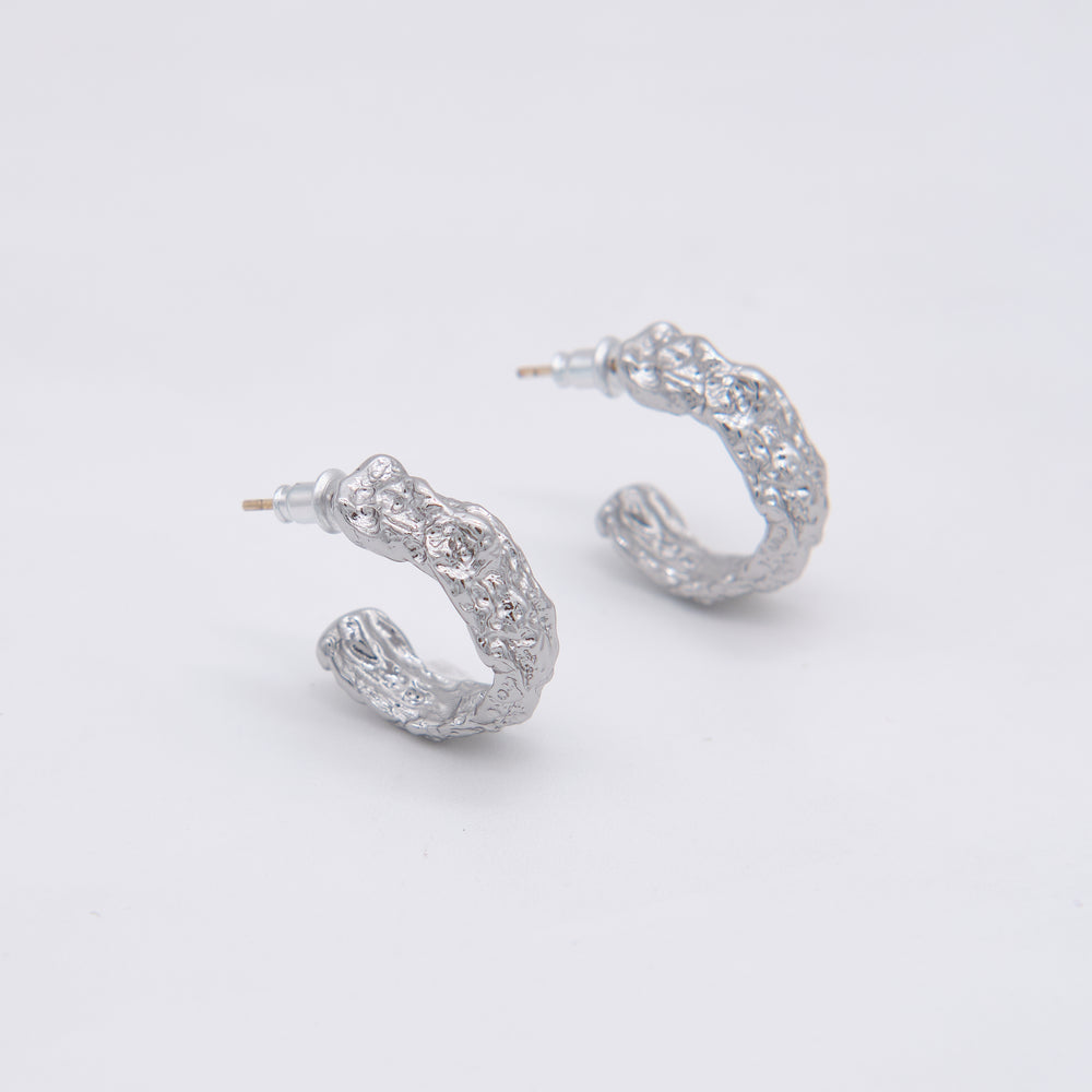 Valerie Textured Hoops 18K Gold-plated SILVER