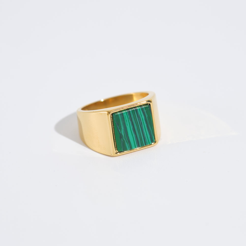 Malachite Stone Signet Ring 18K Gold-plated