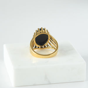 Vintage Black Onyx Ring 18K Gold-plated