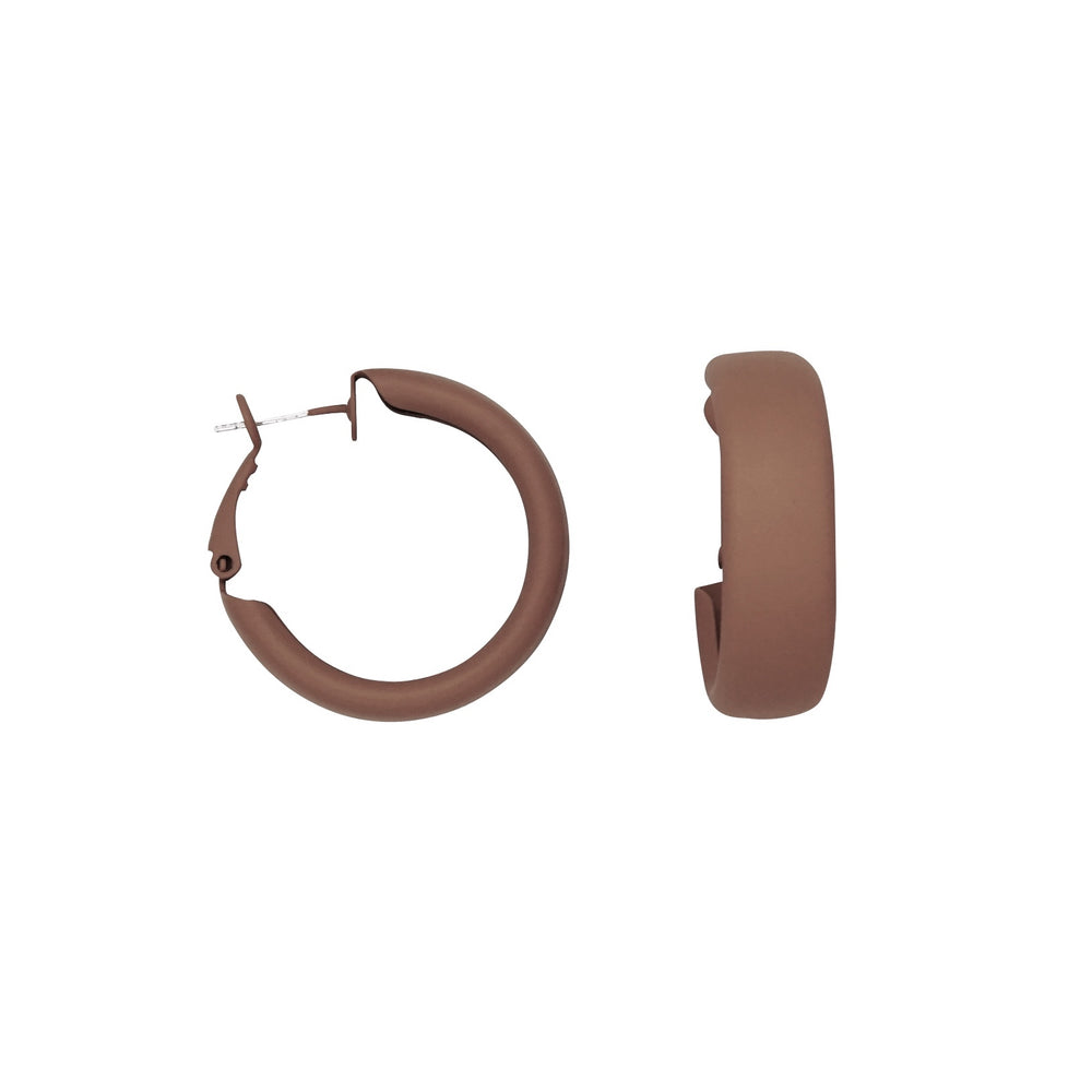 Debby Hoop Earrings Brown - atto.studio