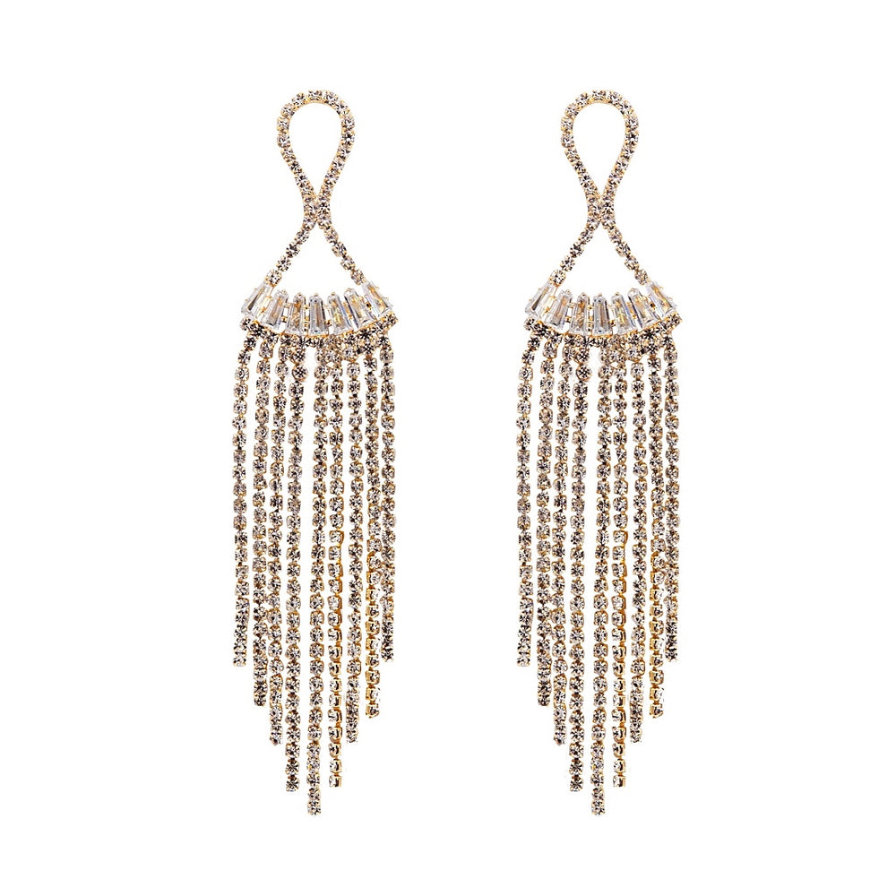 Ethel Long Drop Earrings Gold