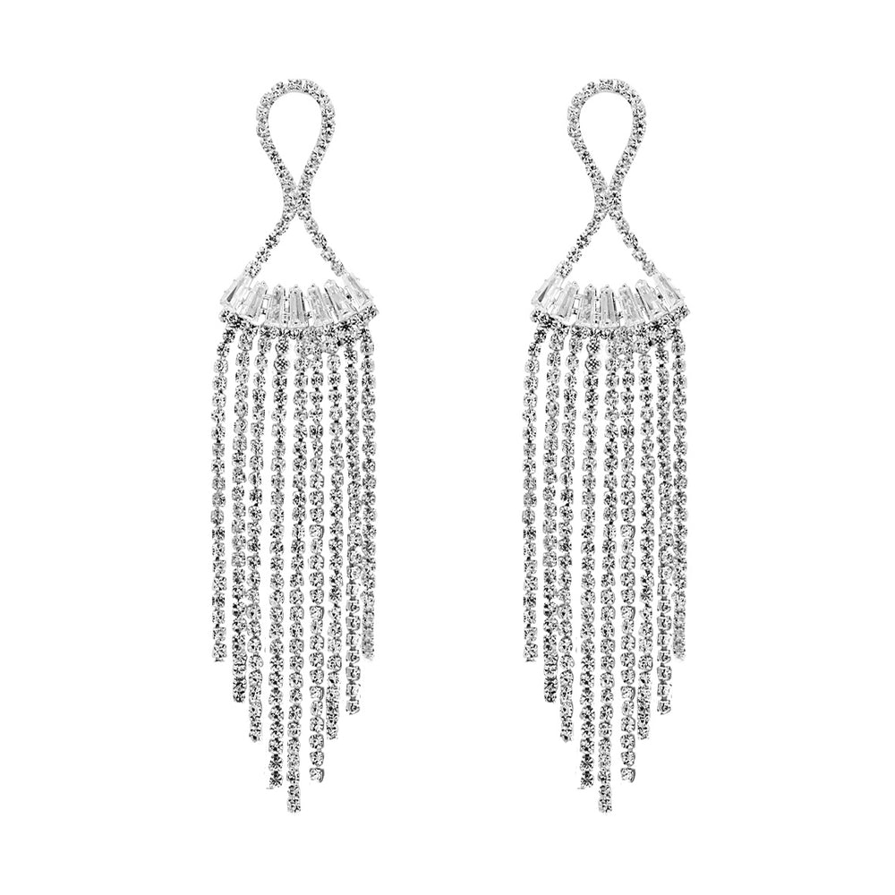 Ethel Long Drop Earrings Silver