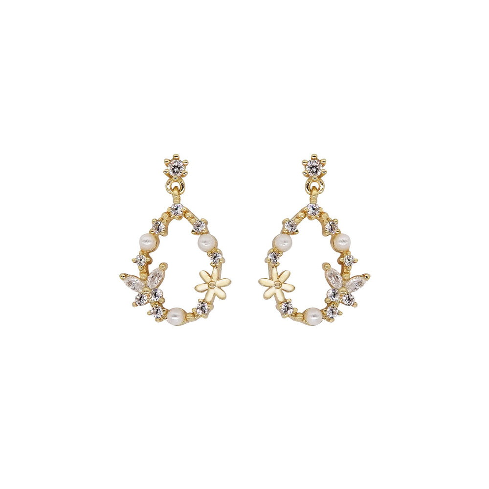 Flora Sterling Silver Earrings GOLD
