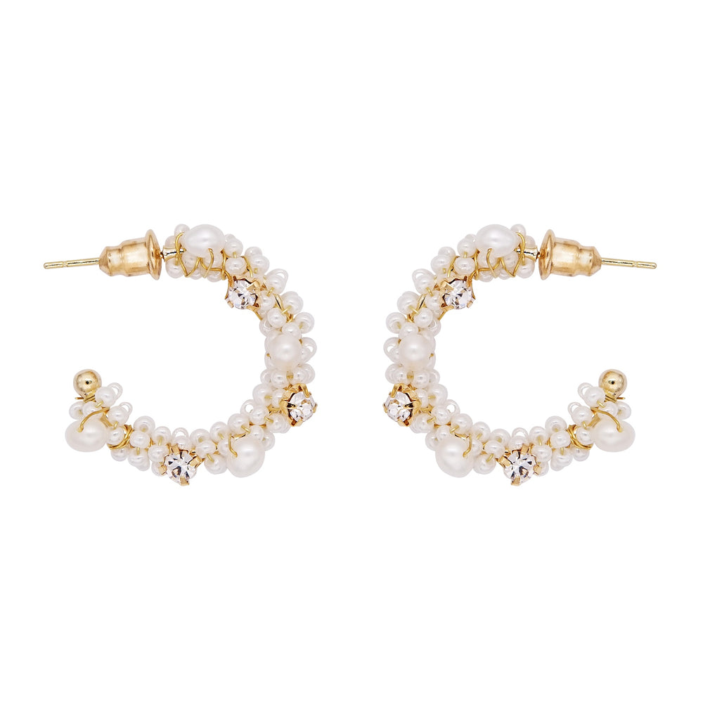 Elodie Pearl Hoop Earrings