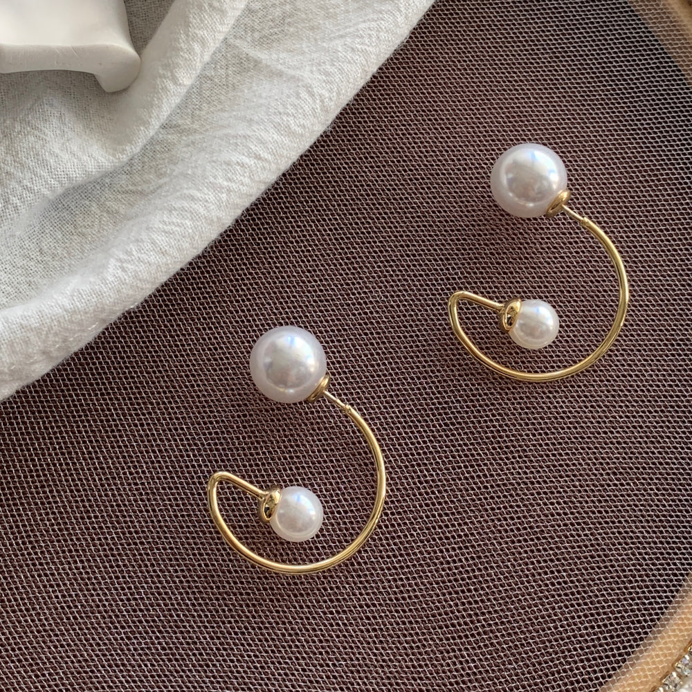 Yvette Front-back Pearl Earrings Gold - atto.studio