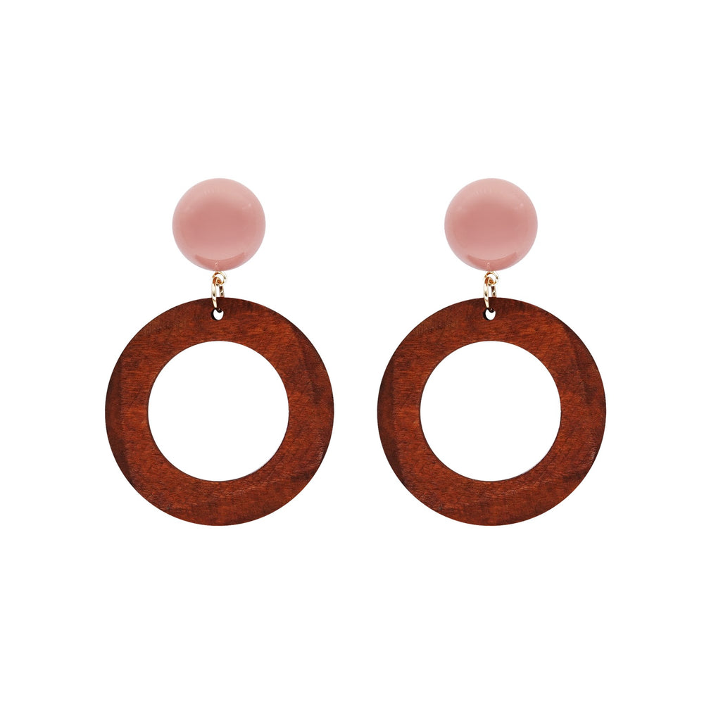 Kayla Wooden Earrings Brown