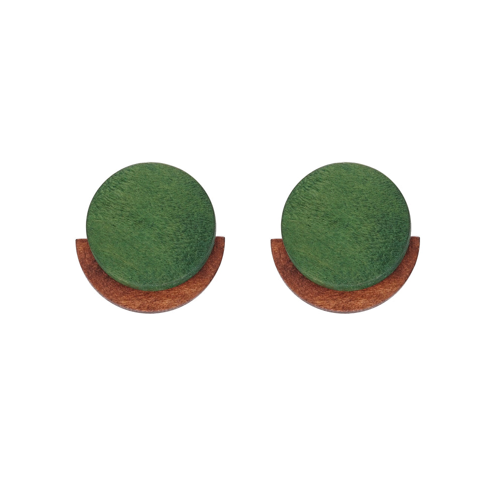 Stella Wooden Stud Earrings Green
