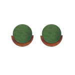 Stella Wooden Stud Earrings Green - atto.studio