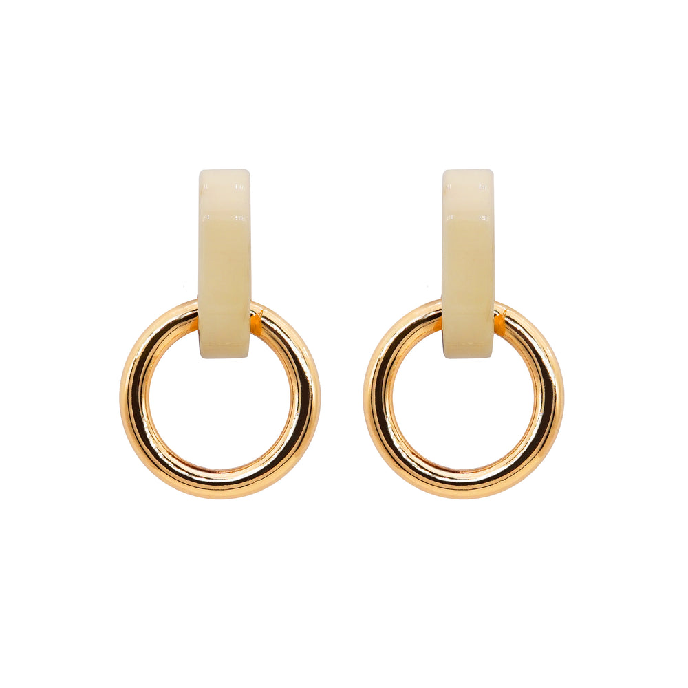 Onora Double Hoop Earrings White - atto.studio