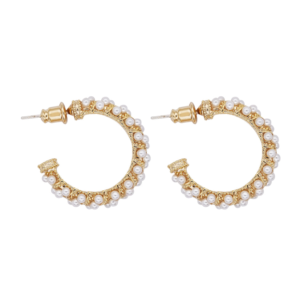 Taina Pearl Hoop Earrings Gold (BACK IN STOCK) - atto.studio