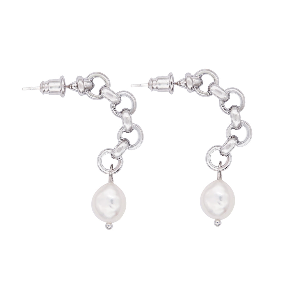 Haley Freshwater Pearl Hoop Earrings Silver