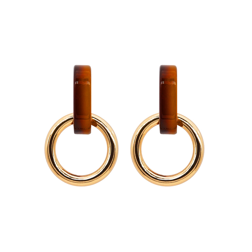 Onora Double Hoop Earrings Brown