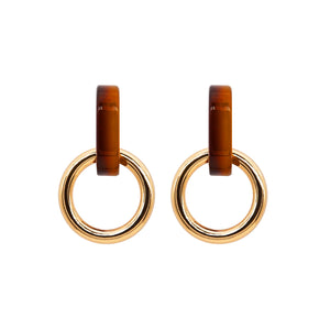 Onora Double Hoop Earrings Brown - atto.studio