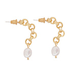 Haley Freshwater Pearl Hoop Earrings Gold - atto.studio