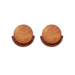 Stella Wooden Stud Earrings Brown