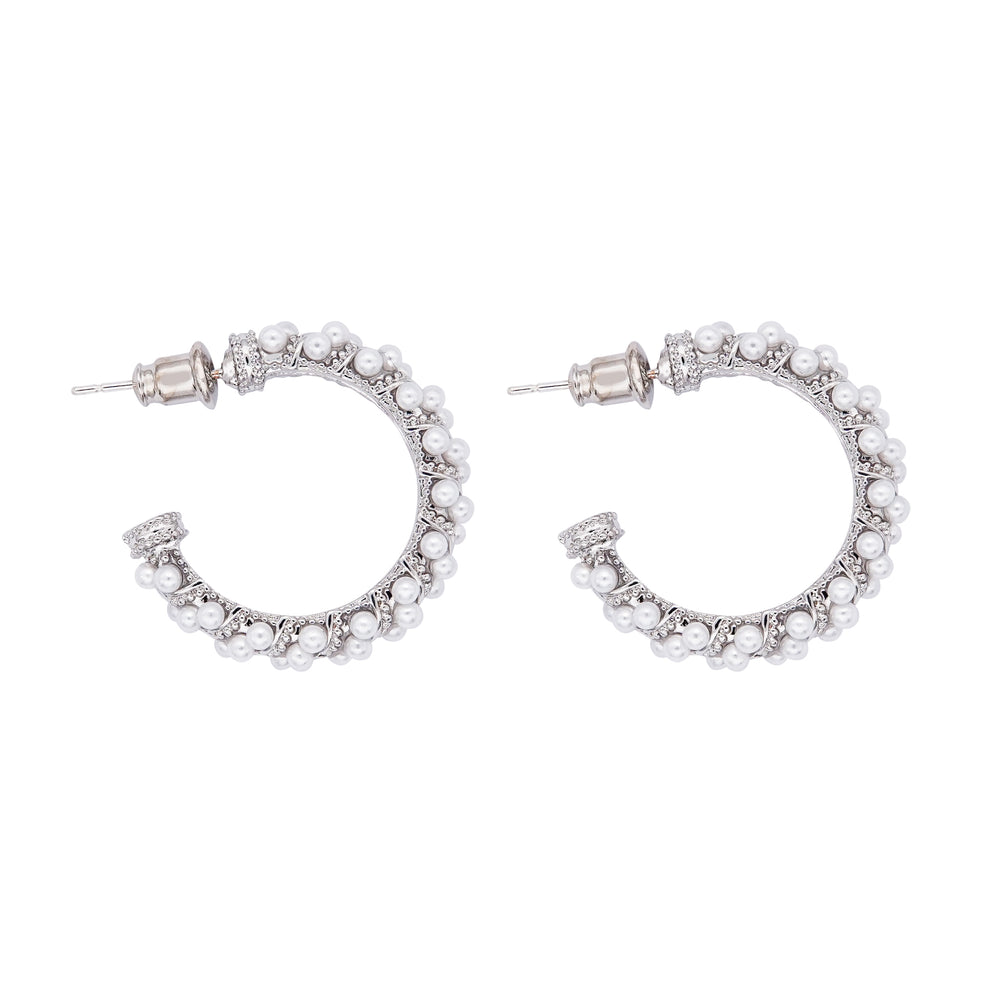 Taina Pearl Hoop Earrings Silver