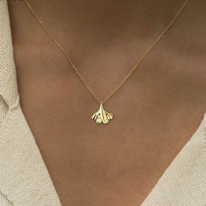Gingko Leaf Sterling Silver with Gold Plate Necklace - atto.studio