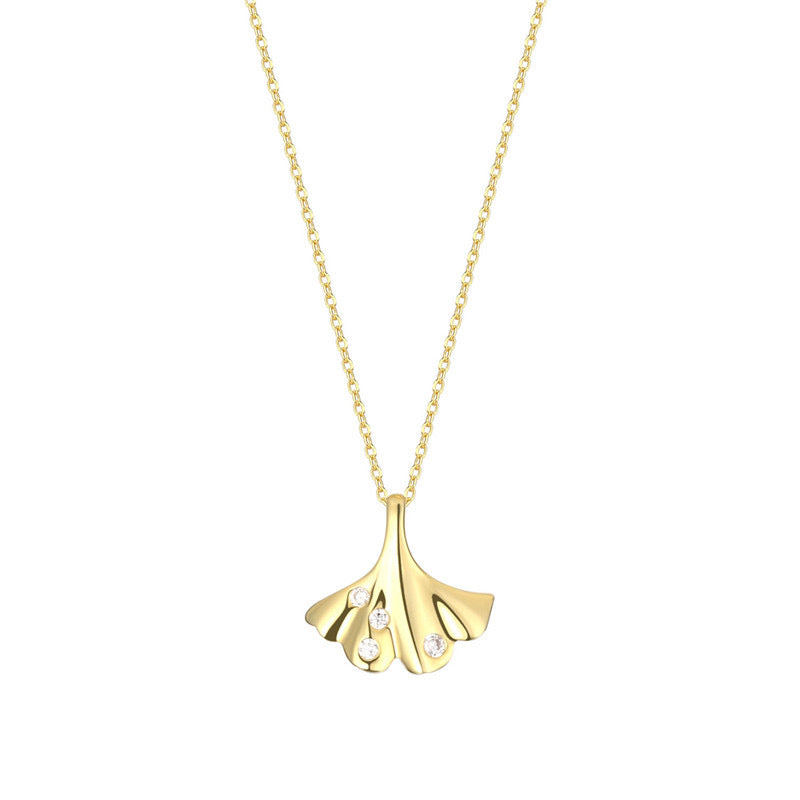 Gingko Leaf Sterling Silver with Gold Plate Necklace
