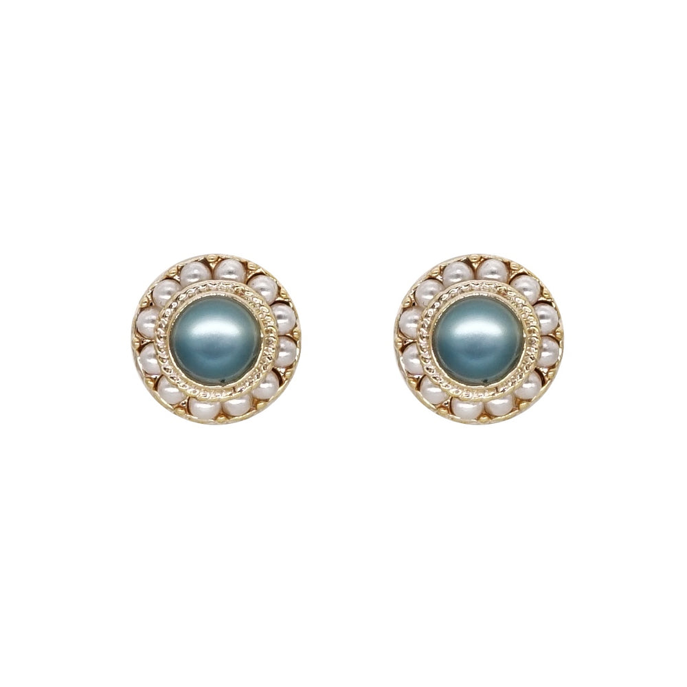 Perla Stud Earrings Blue