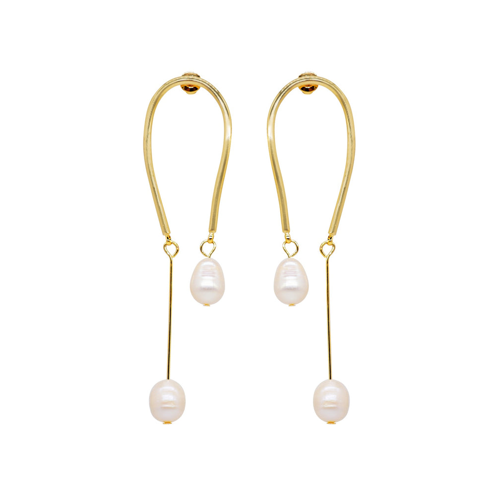 Simo Freshwater Pearl Long Drop Earrings