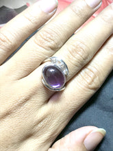 Load image into Gallery viewer, CABOCHON AMETHYST DIAMONDS Ring-925 sterling silver,February stone ,Engagement-Wedding gift