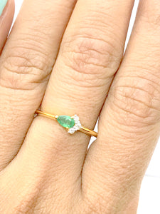 EMERALD DIAMOND 14K Yellow Gold Ring ,May Birthstone ,Emerald Engagement Stackable Ring, EMERALD ANNIVERSARY