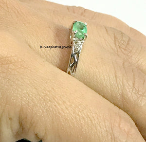 MAY GEMSTONE EMERALD Diamond Ring 925 sterling silver,Engagement Ring.