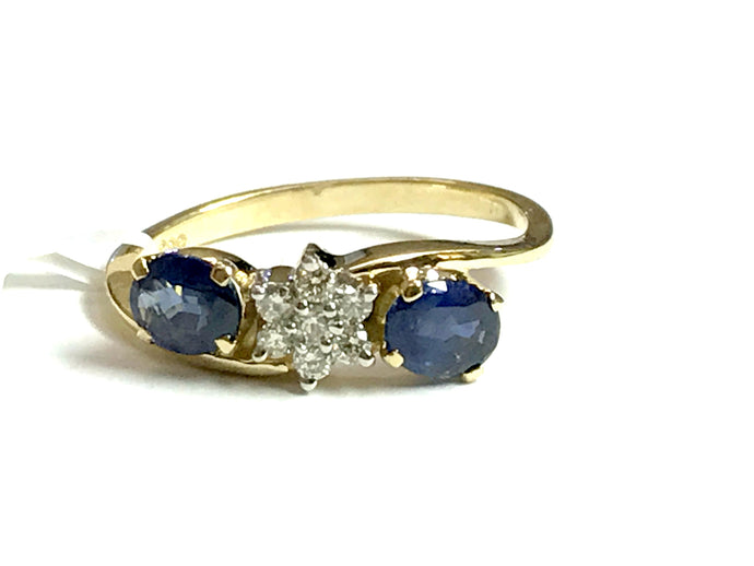 DAINTY BLUE SAPPHIRE DIAMOND ENGAGEMENT RING,September Birthstone,Floral Pattern