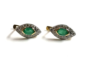 EMERALD DIAMOND CLUSTER Earring-Russian Lock-Gift for Her-Wedding Bridal Gift