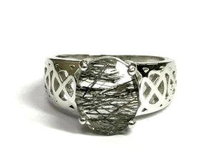 CELTIC KNOTS RUTILE QUARTZ Ring,Black Rutile,925 sterling silver,Unisex Ring,Men's Jewelry