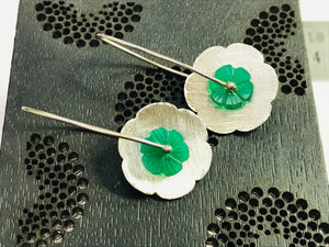 GREEN ONYX FLOWER Dangle Earrings,Floral,Carved Green gemstone,Gift For Her, Christmas Gift.