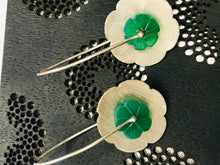 Load image into Gallery viewer, GREEN ONYX FLOWER Dangle Earrings,Floral,Carved Green gemstone,Gift For Her, Christmas Gift.