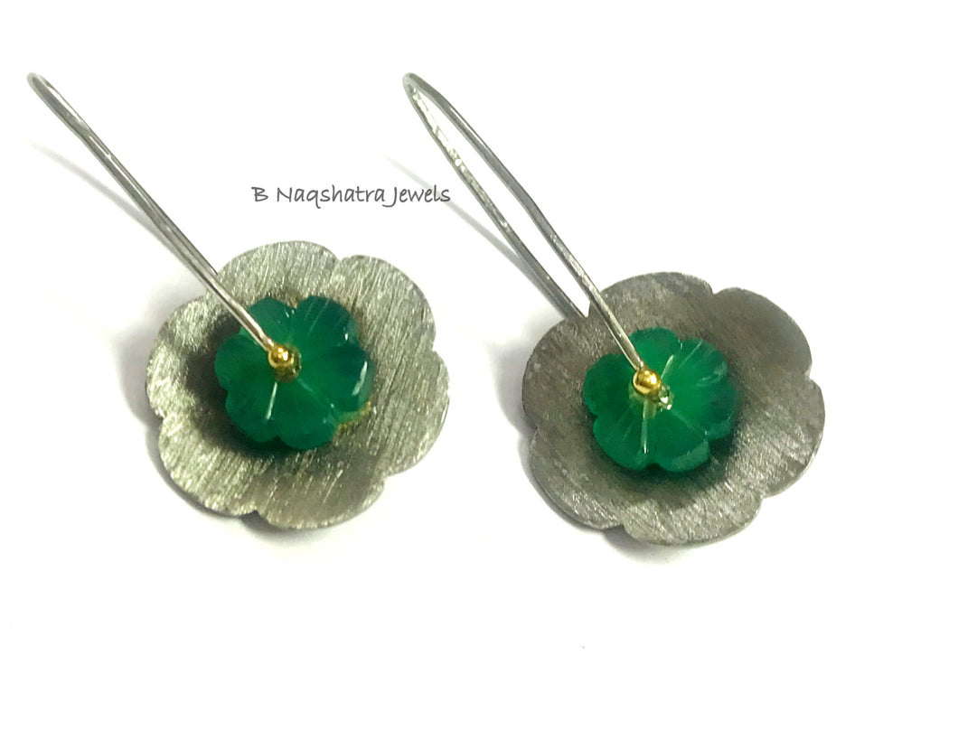 GREEN ONYX FLOWER BLACK Dangle Earrings,Textured Floral Design,Carved Green gemstone,Christmas Gift.