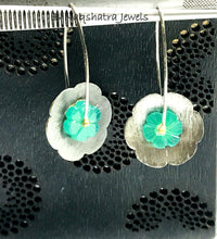 Load image into Gallery viewer, GREEN ONYX FLOWER BLACK Dangle Earrings,Textured Floral Design,Carved Green gemstone,Christmas Gift.