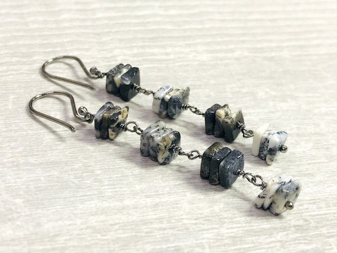 Modern Dendrite Opal Earring,Geometric Jewelry,Spike Earrings,Dangle Earrings,Gifts for Her
