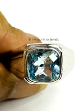Load image into Gallery viewer, BLUE TOPAZ MEN'S Hand Forged Ring ,December Birthstone,Promise Ring for him, Christmas gift ..