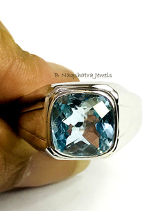 BLUE TOPAZ MEN'S Hand Forged Ring ,December Birthstone,Promise Ring for him, Christmas gift ..