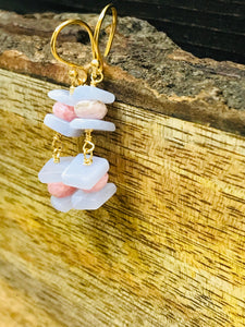 RHOCHROSITE - Blue LACE AGATE Earrings, Beaded Jewelry, Spike Earrings, Dangle Drop Earrings, Statement Jewelry,Gifts for Her