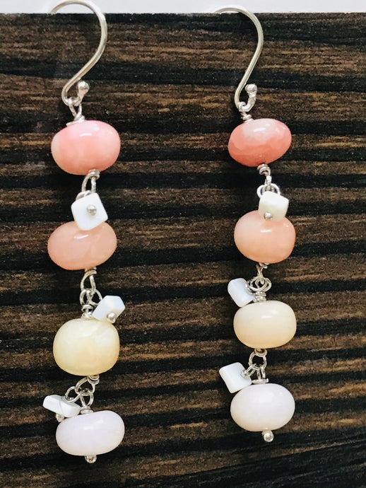 PINK Opal Earrings, BEADED Jewelry, Spike Earrings, Dangle Drop Earrings, Statement Jewelry, VALENTINE Gifts for Her