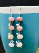 Load image into Gallery viewer, PINK Opal Earrings, BEADED Jewelry, Spike Earrings, Dangle Drop Earrings, Statement Jewelry, VALENTINE Gifts for Her