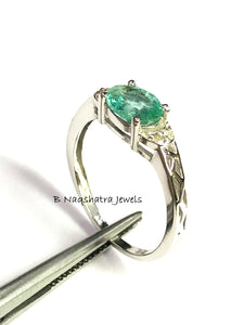 EMERALD RING, May birthstone ,Engagement ring,Anniversary Gift ,Green Beryl.