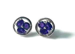 AFRICAN AMETHYST EARSTUDS Of mix shapes with elegant party look...Amethyst Earrings....perfect gift for February birthdays ............