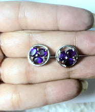 Load image into Gallery viewer, AFRICAN AMETHYST EARSTUDS Of mix shapes with elegant party look...Amethyst Earrings....perfect gift for February birthdays ............