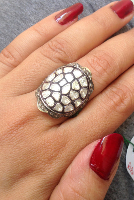 ROSE CUT DIAMONDS, Antique silver ring, Diamonds vintage ring, silver diamond ring,Turtle shape designed top ,Vintage wedding band .