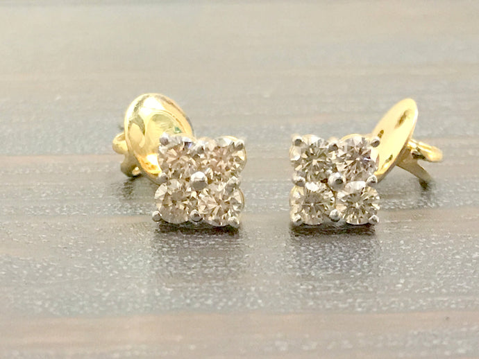 DIAMONDS STUD EARRINGS ,14 k Solid Gold, Round Diamonds , Birthday Gift ,Anniversary gift .