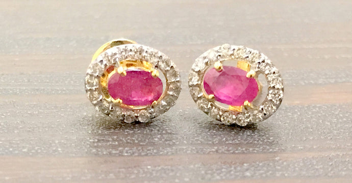 RUBY DIAMOND CLUSTER Earring 14k gold,Ruby oval,Wedding Gift ,July Birthstone,Ruby Anniversary