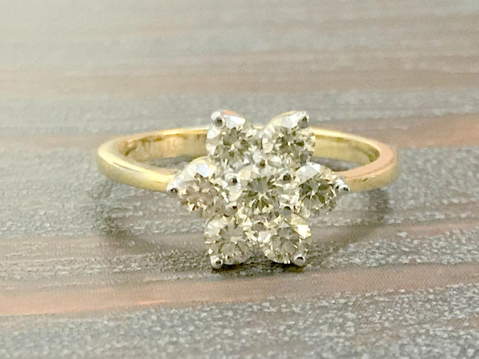 DIAMOND CLUSTER RING 14k Solid Yellow Gold ,Stackable Wedding Ring ,Diamond Engagement Ring.